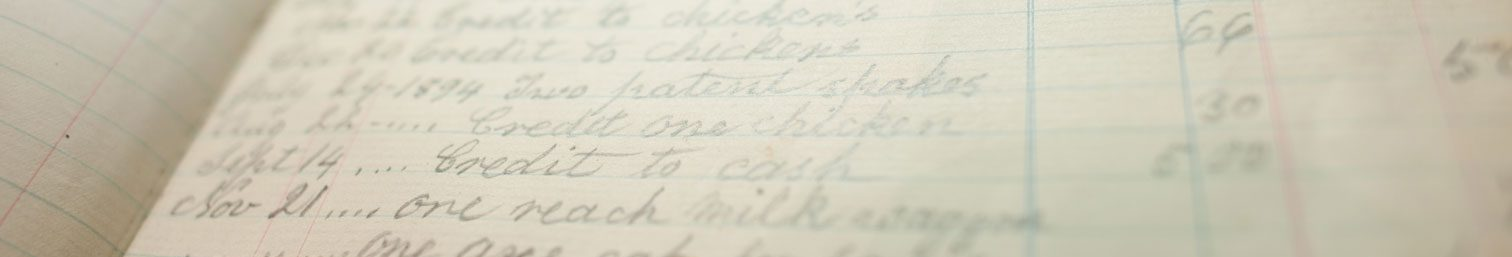 Close-up of accounting ledger from 1892.